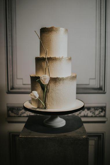 Gaza's Cakes with Gold Decor | Minimalist Monochrome Inspiration with Anemone's & White Genista Flowers styled by The Bijou Bride | Igor Demba Photography | Gione da Silva  Film
