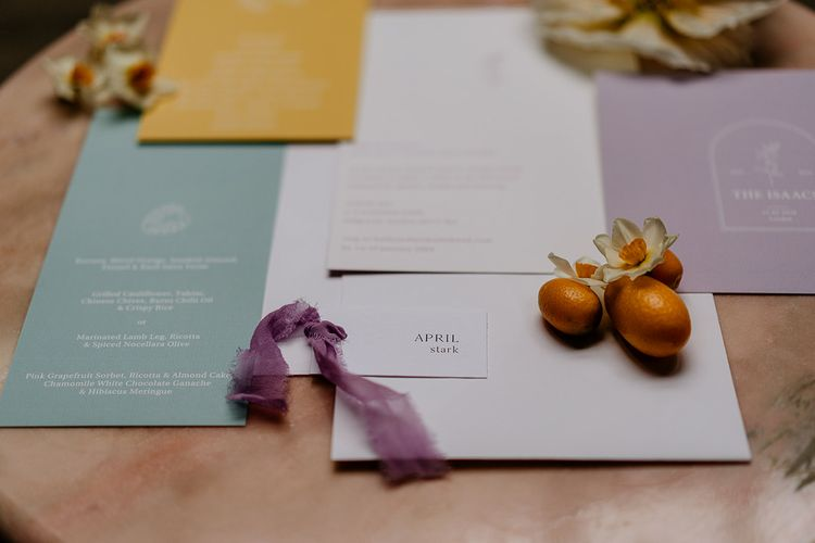 Wedding stationery suite in Spring colours