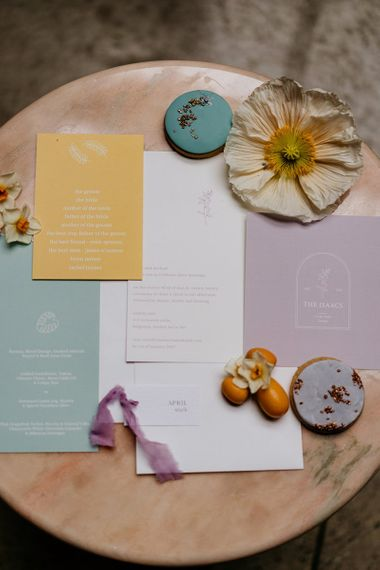 Spring, lemon, lilac and mint wedding stationery designs