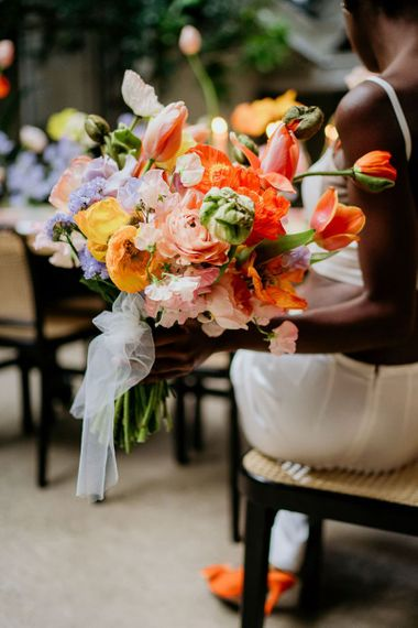 Bright spring flowers for wedding bouquet