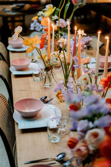 Colourful spring flowers for wedding table decor