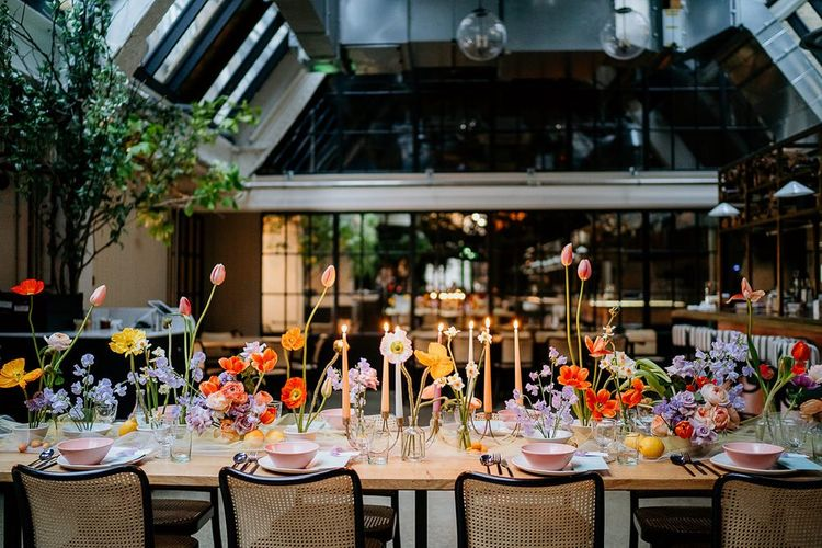 Colourful spring wedding flowers and table decor