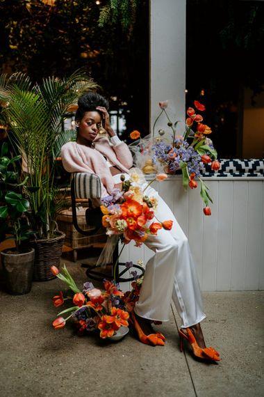 Spring flowers for wedding decor at industrial wedding venue