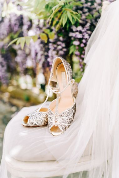 Silver Sequin Peep Toe T-Bar Wedding Shoes