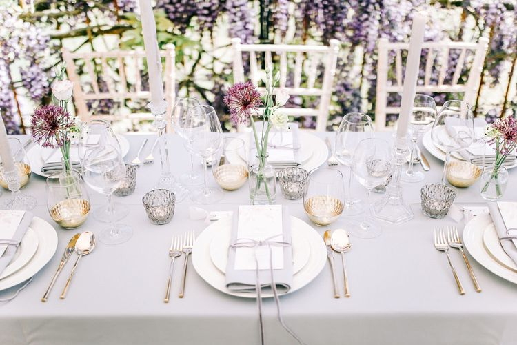 Elegant Place Setting with Grey Table Linens