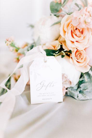 Peach Roses and Elegant Tag