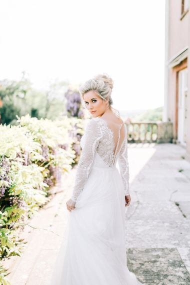 Beautiful Bridal Makeup with Bride in Lace Illusion Back Wedding Dress
