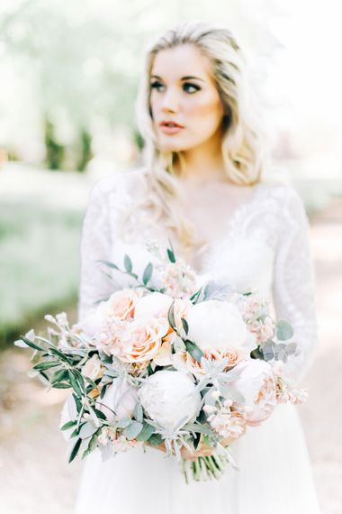 White Peony and Peach Rose Wedding Bouquet