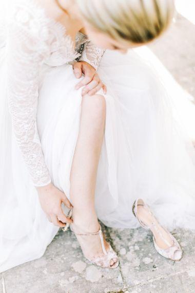 Elegant T-Bar Peep Toe Bridal Shoes