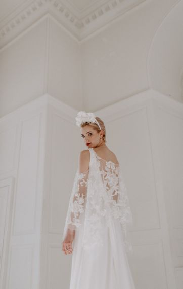 modern bride in lace wedding cape