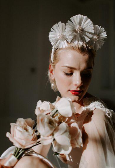 White Flower bridal crown modern wedding ideas