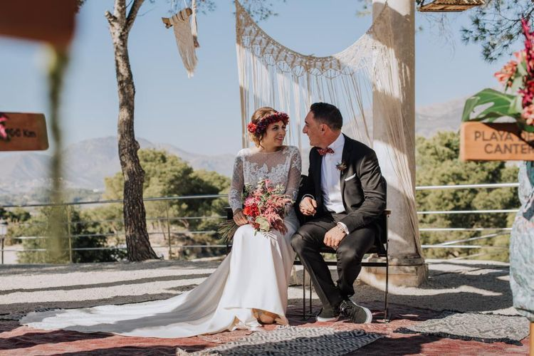 Outdoor Wedding by the Beach at Marqués de Montemolar, Spain, Planned & Styled by Paloma Cruz Eventos | Water Sports Theme with Surf Boards Table Plan | Rubén Hernández Bridal Separates | Paco & Aga Photography