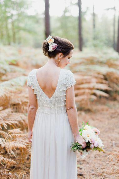 Monsoon short sleeve wedding dress with v-neck back and beaded embellishment