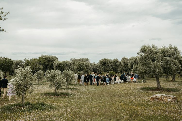Guests gather outside Masseria Moroseta for ceremony