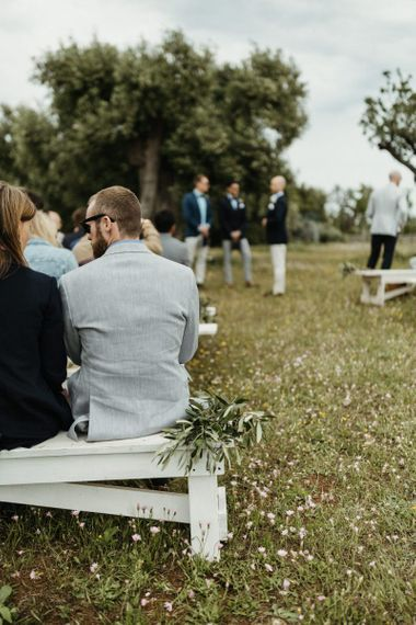Groom and guests at Masseria Moroseta wedding ceremony
