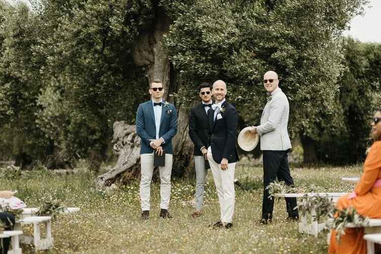 Groom sees bride at Masseria Moroseta ceremony