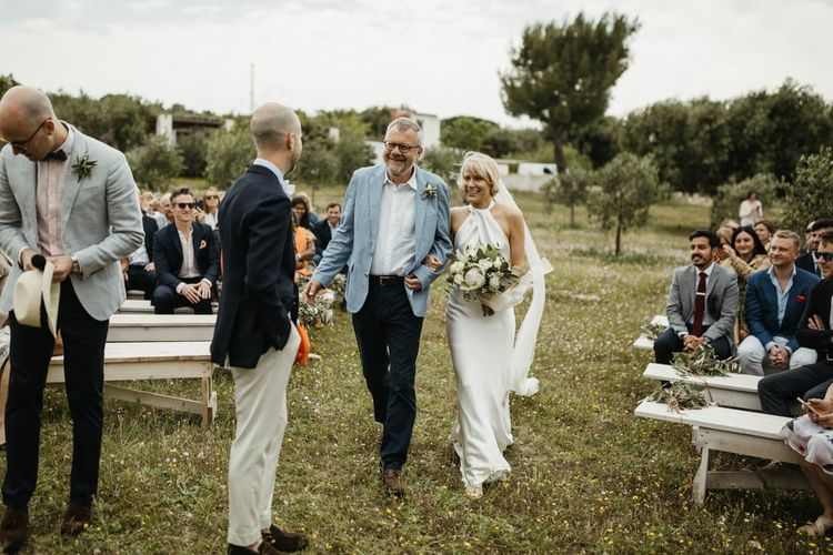 Bride and groom during outdoor ceremony at destination wedding