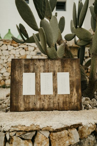 Simple wedding seating chart