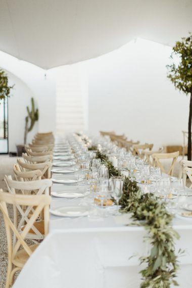 Foliage table runner and simple decor at Masseria Moroseta