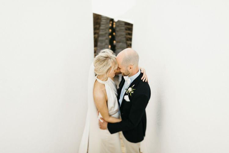 Bride and groom at Masseria Moroseta in Italy