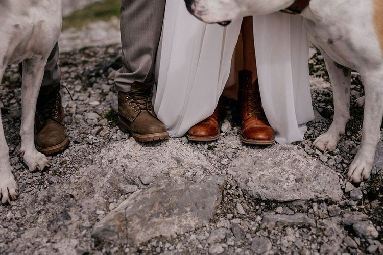 Bride and groom boots for mountain wedding