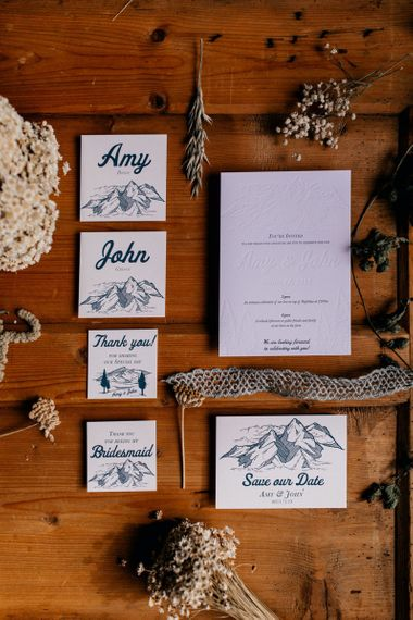 Mountain wedding stationery suite