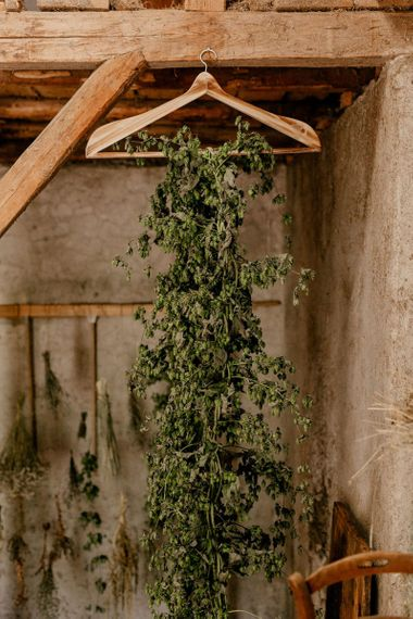 trailing foliage hanging from a wooden hanger