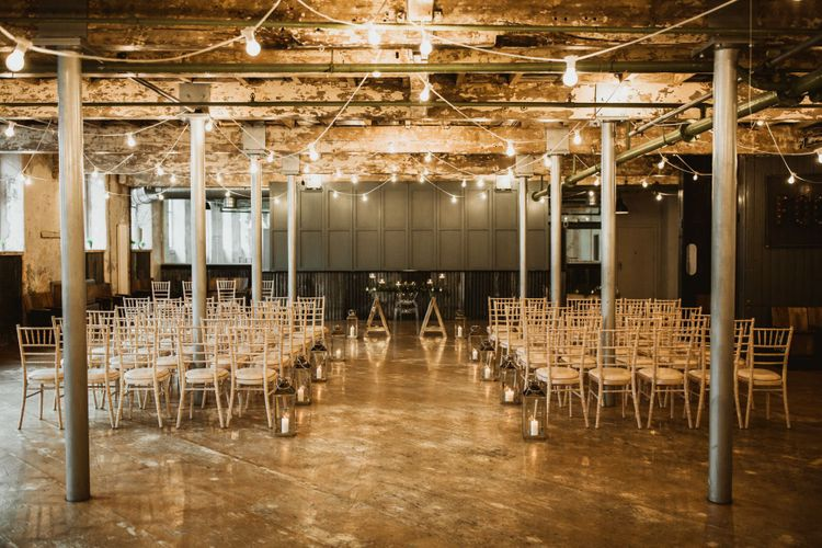 Industrial wedding ceremony at Holmes Mill