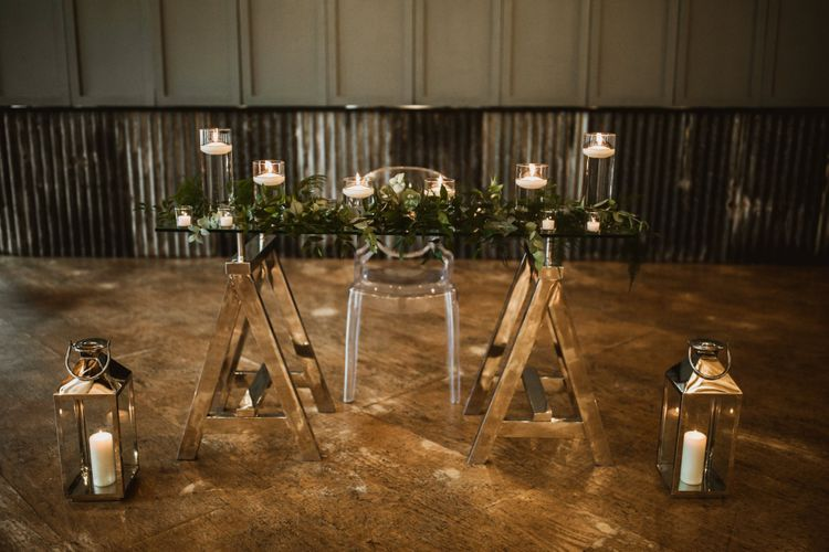 Altar wedding decor with candles