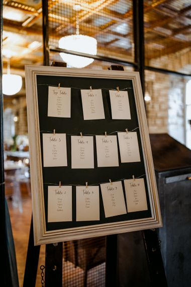 Wedding seating chart and cupcake wedding cake at industrial wedding