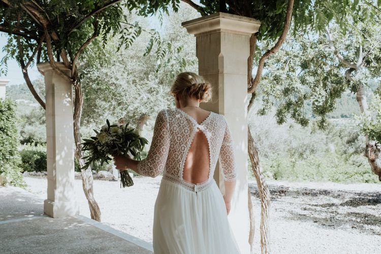 Bride in Keyhole Lace Back Rembo Styling Wedding Dress