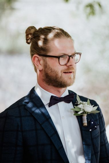 Groom in Blue Check Suit, Bow Tie and Top Knot