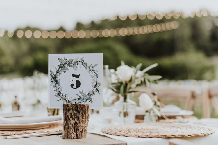 Laurel Wedding Table Number Sign in Tree Stump
