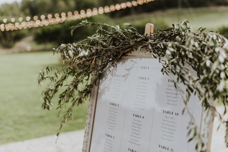 Framed Table Plan with Greenery Garland
