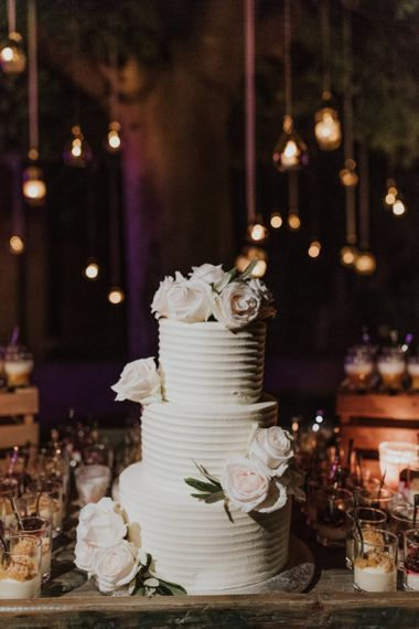 Three Tier White Wedding Cake with Frosting