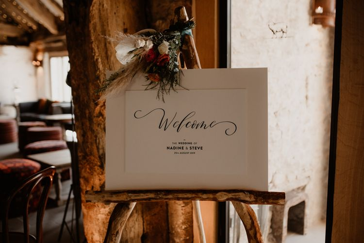 Wedding welcome sign at Tithe Barn Bolton Abbey