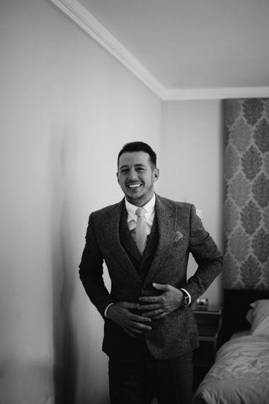 Groom in wool suit
