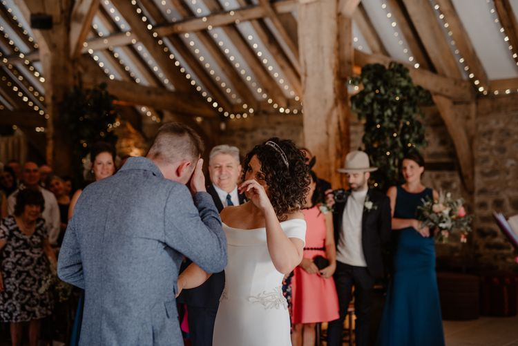 emotional bride and groom during wedding ceremony at Tithe Barn Bolton Abbey
