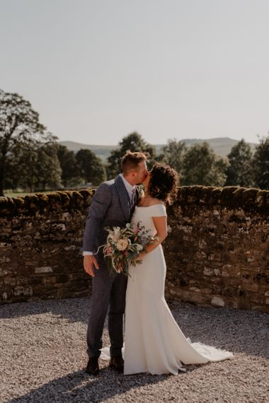 Bride and groom portrait at Tithe Barn Bolton Abbey
