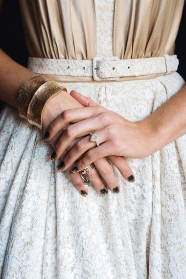 Dark Gold Glittery Wedding Nails