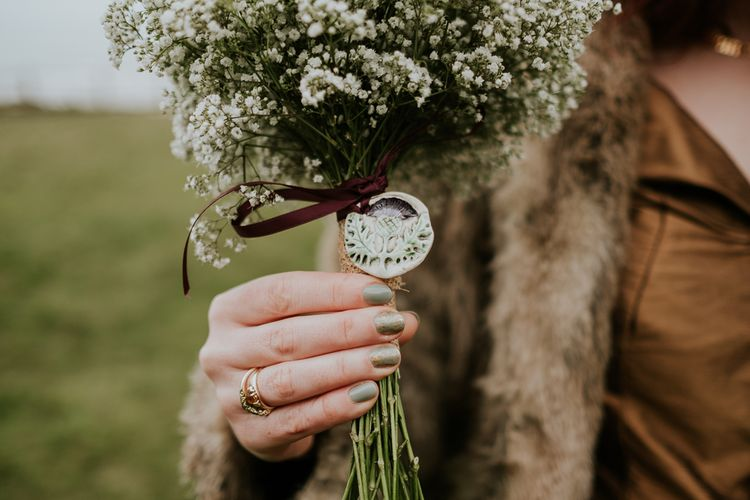 Gypsophila Bouquet and Metallic Bridal Nails