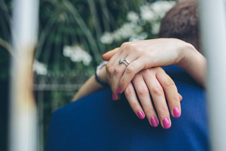 Groom's Blue Suit and Fuchsia Wedding Nails