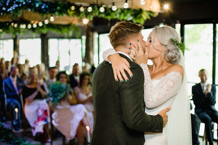 Couple Kiss, Bride With Green Wedding Nails