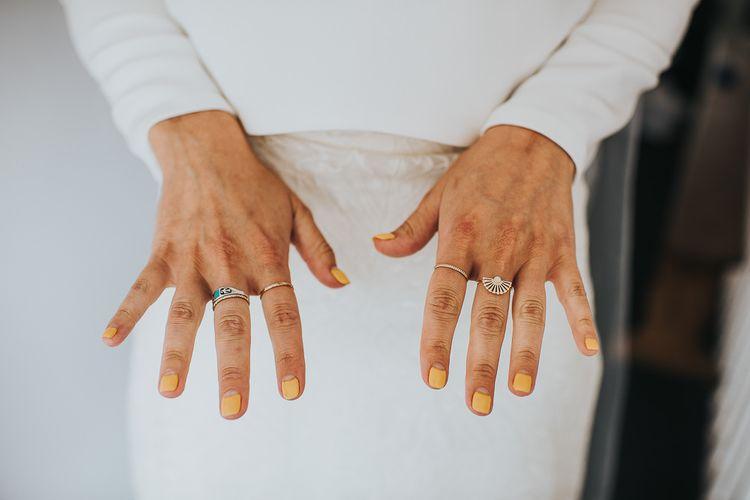 Pale Orange Bridal Nails