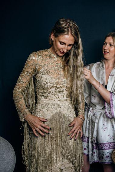 Gold Fringe Wedding Dress