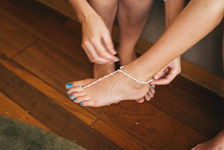 Blue Bridal Pedicure and Wedding Anklet