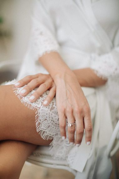 White Wedding Nails and Lace Dressing Robe