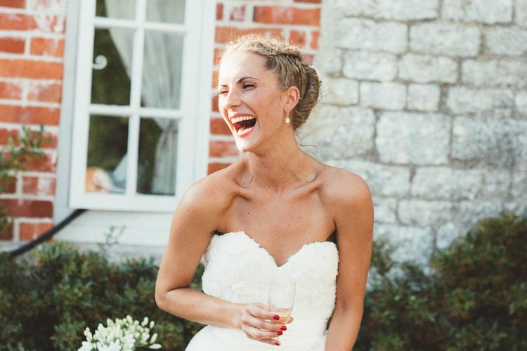 Strapless Wedding Dress and Bride With Red Nails