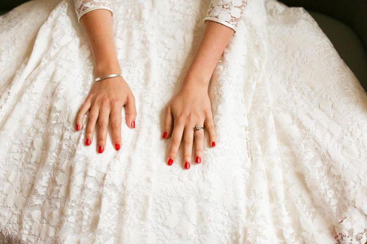 Vintage Tea Length Wedding Dress and Red Nails