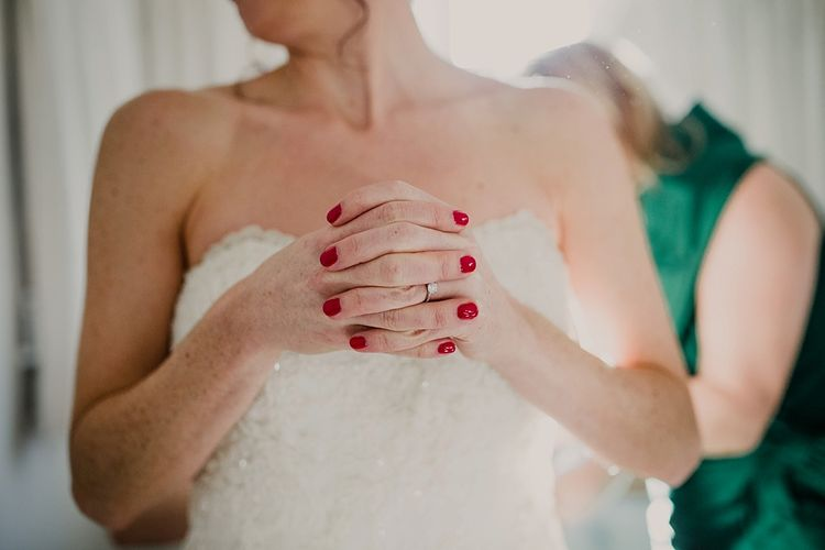 Strapless Wedding Dress & Bold Nails